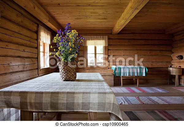 Stock beeld van oud houten interieur russische verouderd landelijk csp10900465 zoek - Interieur gevelbekleding houten ...