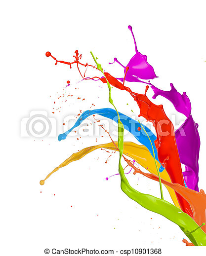 Colored paint splashes isolated on white background  - csp10901368