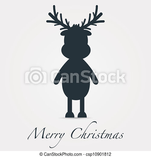reindeer silhouette black merry christmas text - csp10901812