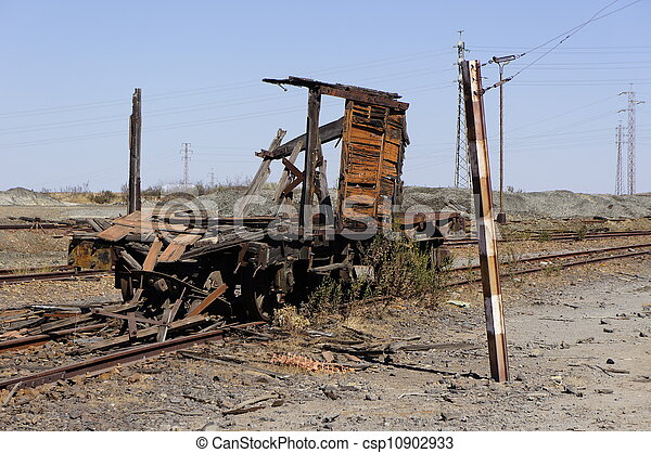 Abandoned facilities freight wagon. - csp10902933