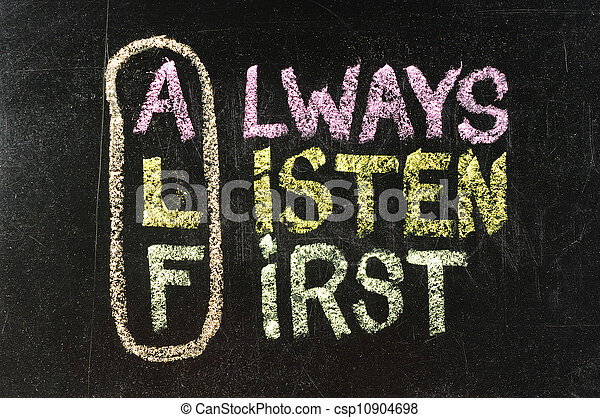 ALF acronym (always listen first) - good advice for training, counselling, customer service, selling or relationships, sticky notes and white chalk handwriting on blackboard - csp10904698