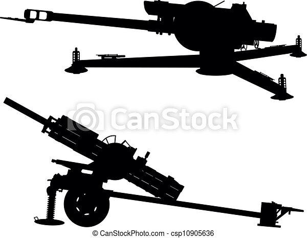 vectors of artillery   howitzer vector silhouette
