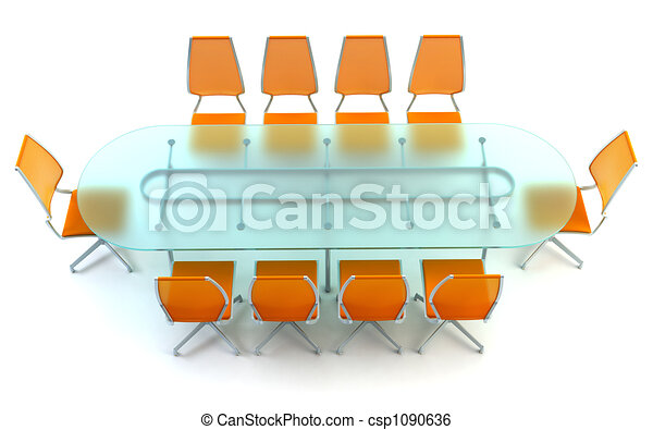 boardroom with table and chairs - csp1090636