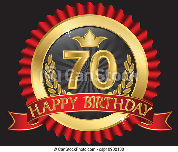 70 years happy birthday golden labe - csp10908130