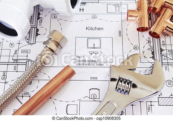 Plumbing Tools Arranged On House Plans - csp10908305