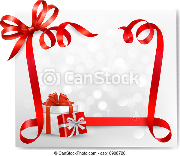 Holiday background with red gift bow with gift boxes  Vector - csp10908726