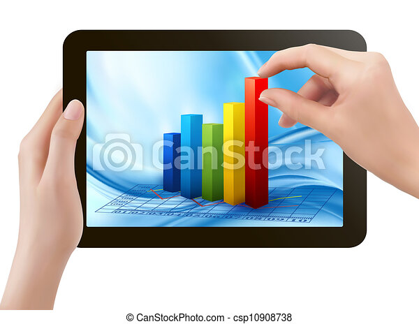 Tablet screen with graph and a hand. Vector. - csp10908738