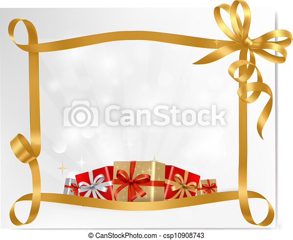 Holiday background with gift bow with gift boxes  Vector - csp10908743