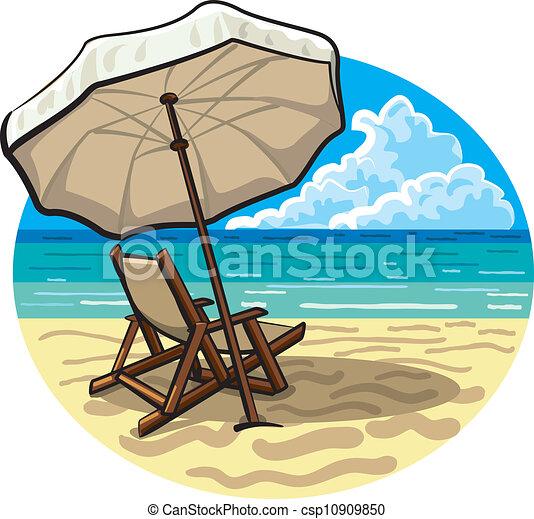 Clipart Vector Of Beach Chair And Umbrella Beach Chair