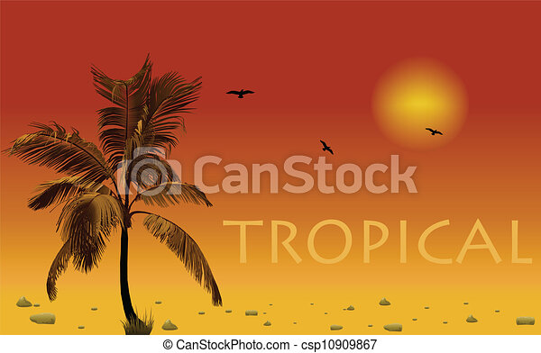 Sea and coconut palm. Vector sunset - csp10909867