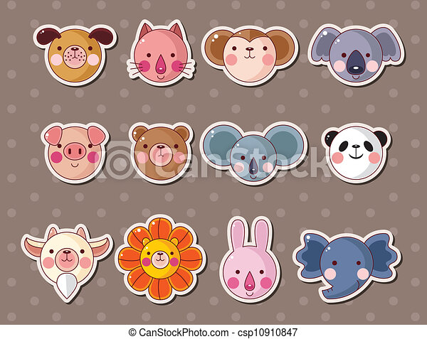 animal face stickers - csp10910847