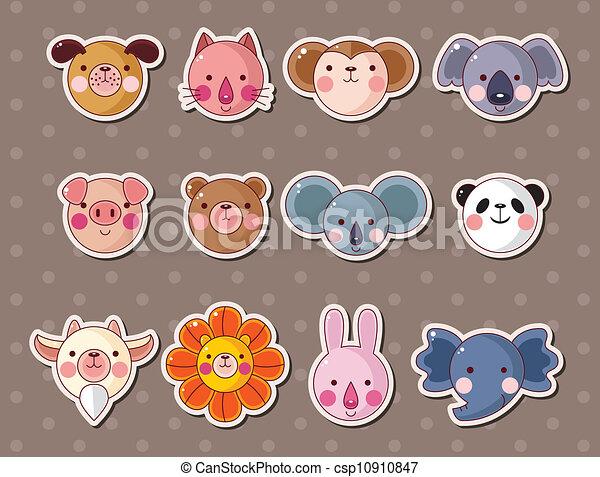 animal face stickers - csp10910847