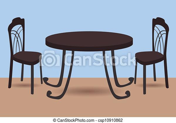 Stühle clipart  Clip Art Vektor von stühle, tisch - vektor, abbildung, von, tisch ...