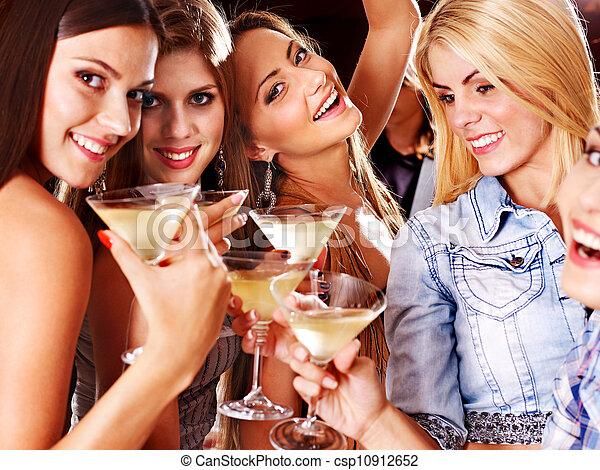 Woman on disco in night club. - csp10912652