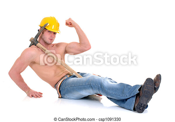 Macho construction worker - csp1091330