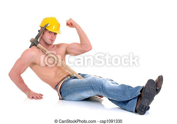 Macho construction worker - csp1091330