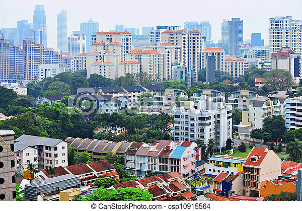 residential downtown in Singapore - csp10915564