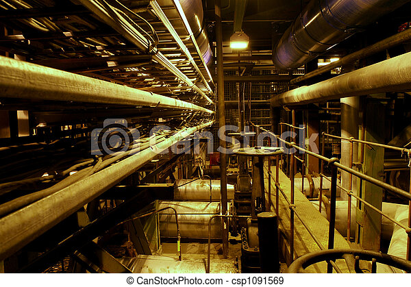 Equipment, cables and piping as found inside of a modern industrial power plant - csp1091569