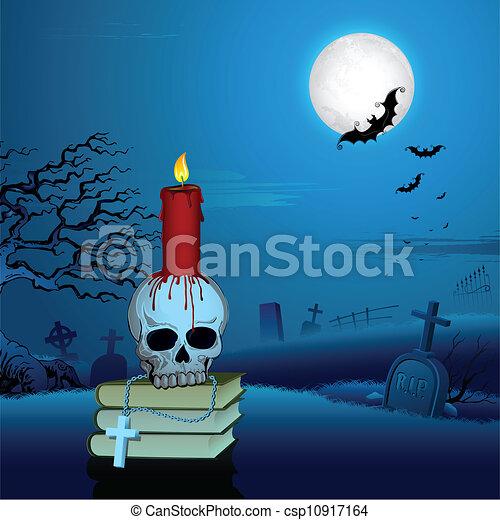 vector vela  cr u00e1neo  halloween  noche stock de Halloween Graveyard Backgrounds Halloween Graveyard Clip Art Black and White