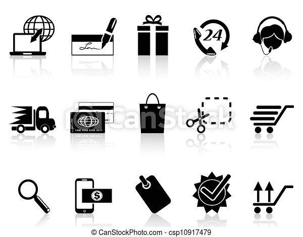 矢量-黑色, 电子商业, 购物, 图标