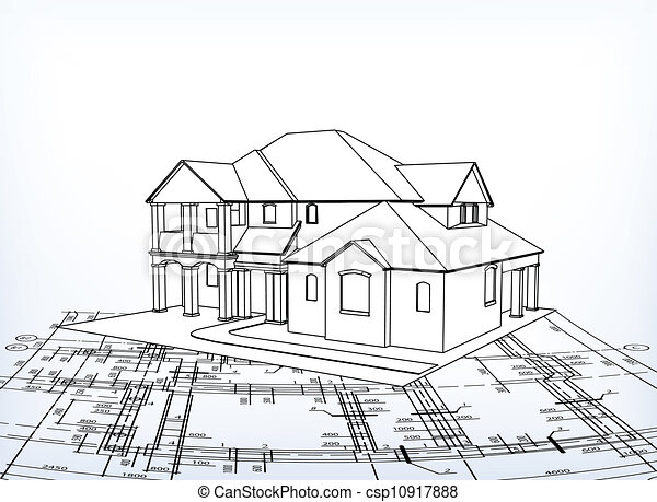 Vector of house vector technical draw 3d house for Draw 3d house plans online