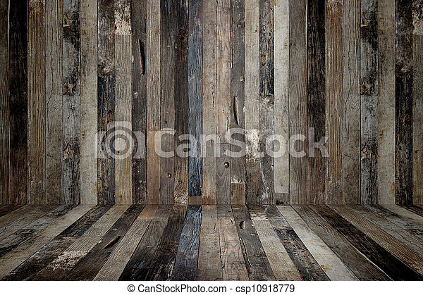 Old grunge interior, wooden background - csp10918779