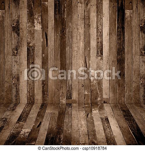 Old grunge interior, wooden background - csp10918784