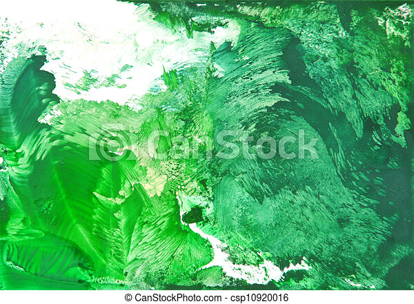 Abstract hand drawn paint background: green grass patterns imitating summer landscape - csp10920016