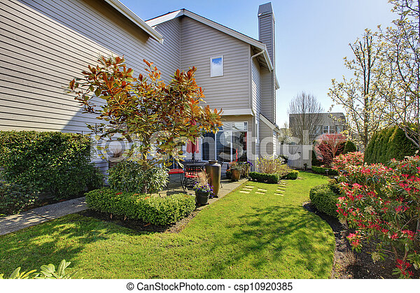 Nicely landscaped back yard with house during spring in NorthWest USA. - csp10920385