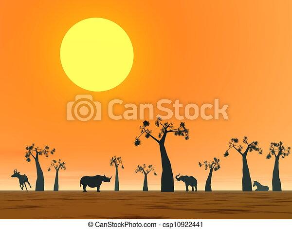 Dessin de savane paysage coucher soleil ombres de - Savane dessin ...