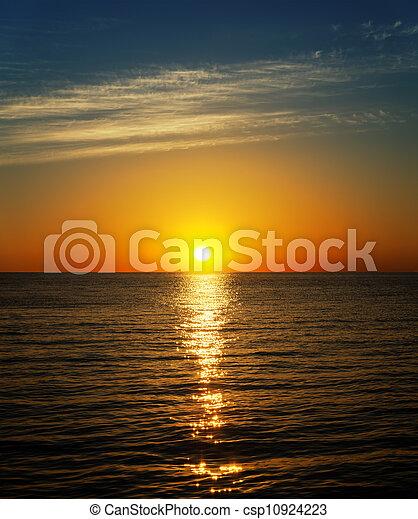good sunset over river - csp10924223