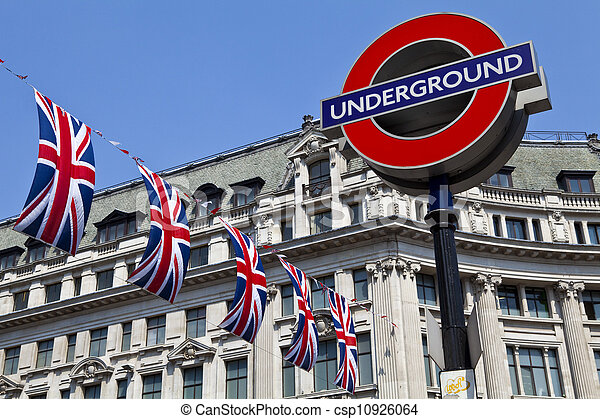 London Underground and Union Flags - csp10926064
