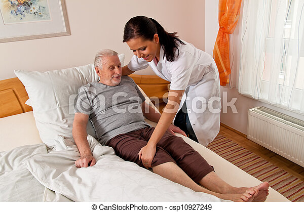 nurse in elderly care for the elderly in nursing homes - csp10927249