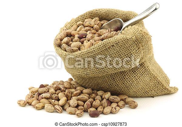 stock de fotos bolsa arpillera frijoles moteado