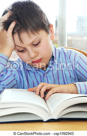 School boy studying - csp1092943