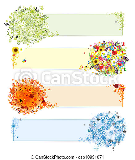 Four seasons - spring, summer, autumn, winter. Banners with place for your text - csp10931071
