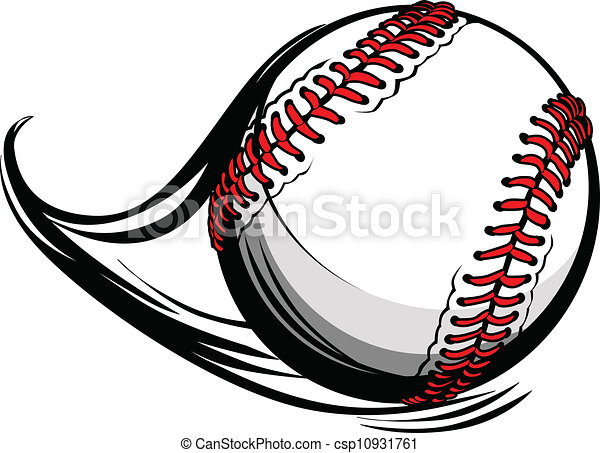 Vector Illustration of Softball or Baseball with Movement Motion Lines - csp10931761