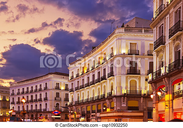Madrid Spain at sunset - csp10932250