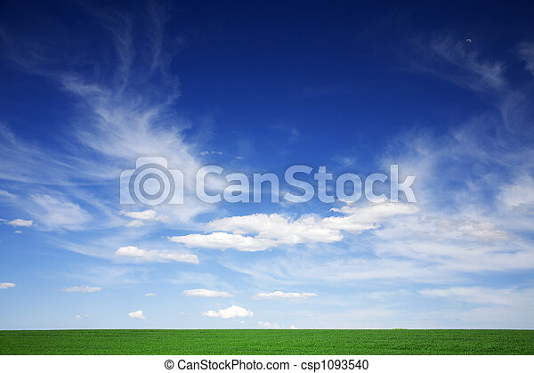 Green field, blue skies, white clouds in spring - csp1093540