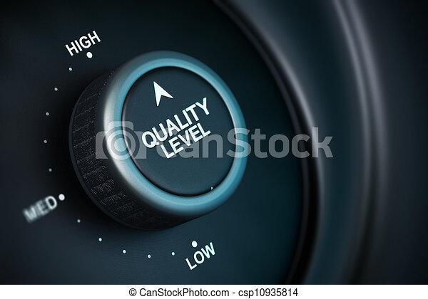 calidad, nivel, botón, bajo, medio, alto, posiciones, botón, colocado, supra-sumo, posición, negro, azul, Plano de fondo, mancha, efecto - csp10935814
