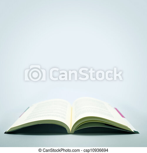 Open Book in a Grey Background - csp10936694