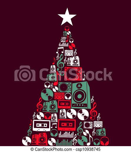 Christmas music objects tree - csp10938745