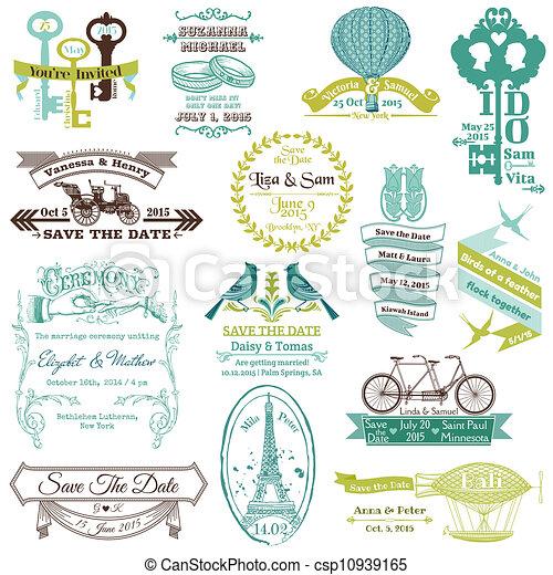Wedding Vintage Invitation Collection - for design, scrapbook - in vector - csp10939165