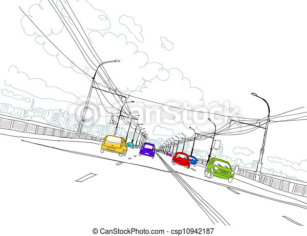 Sketch of traffic road in city for your design - csp10942187