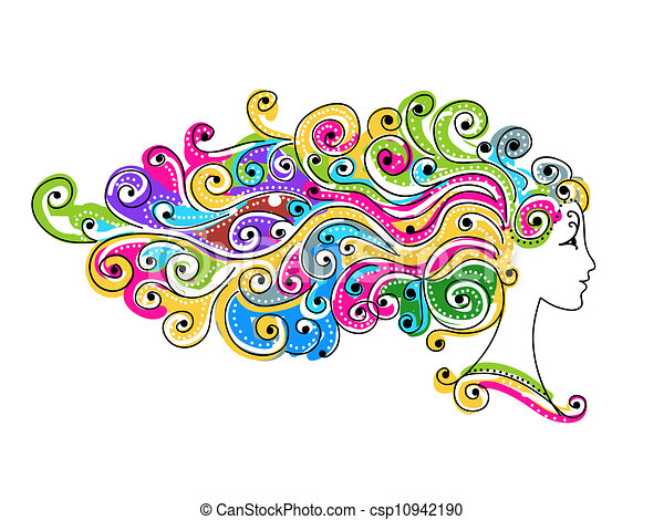 Abstract colorful hairstyle, female head for your design - csp10942190