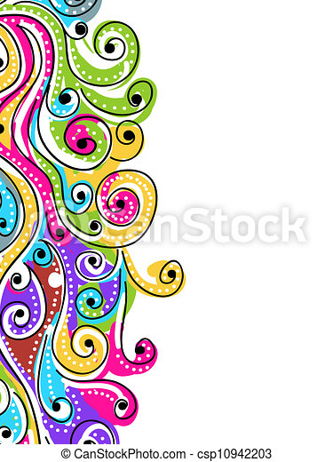 Wave hand drawn pattern for your design, abstract background - csp10942203