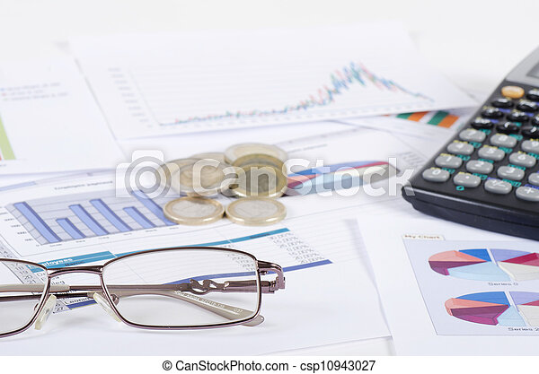 Graphs, charts, business table. The workplace of business people. - csp10943027