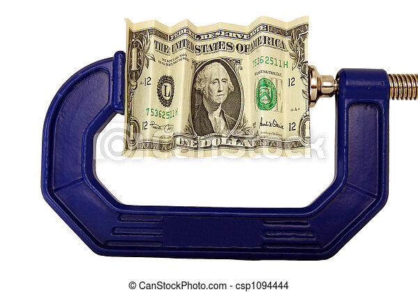 Dollar bill pinched in clamp - csp1094444