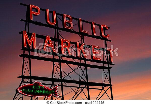 梭子魚, 西雅圖, 地方, 市場 - csp1094445