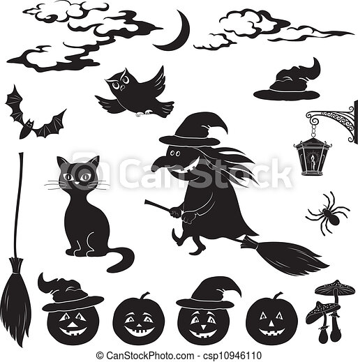 Clip Art Vecteur de Halloween, dessin animé, ensemble ...